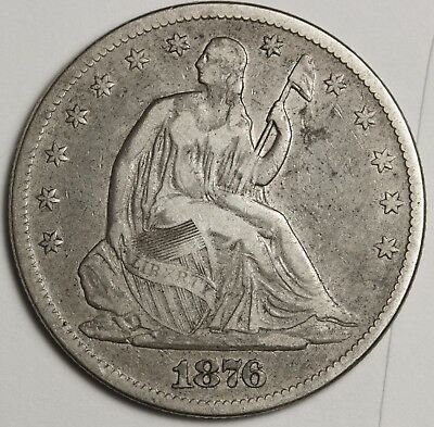 1876-cc Seated Liberty Half.  Natural V.F.  128380
