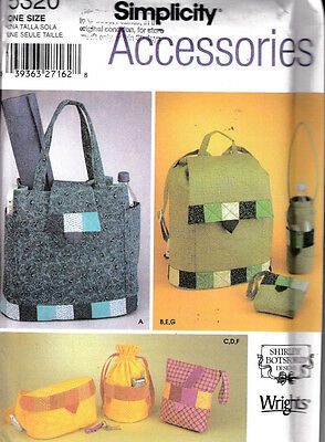 Simplicity Accessories Sewing Pattern #5320 Assorted  Bags