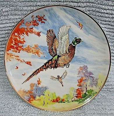 """Vintage 1960s Pheasant Game Bird Japan Porcelain 8"""" Wall Collector Plate FREE SH"""