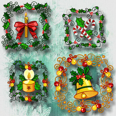 Christmas Blocks No 3  10 Machine Embroidery Designs Cd 4 Sizes Included