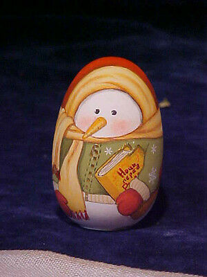 Russian hand painted wooden Snowman egg for Christmas (1015-4)