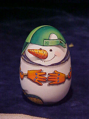Russian hand painted wooden Snowman egg for Christmas (1015-6)