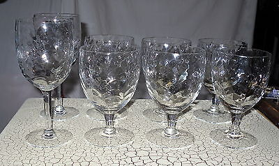8 Antique Clear Blown Glasses Crystal Draped Wine Goblets Optic Elegant Water