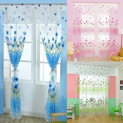 Colorful Floral Tulle Voile Door Window Curtain Drape Panel Sheer Scarf Valance