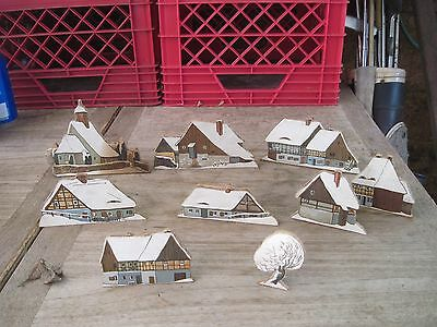 """Handmade Christmas Village, Decals on Wood, 9pcs., Free Standing, approx. 2.5""""ta"""