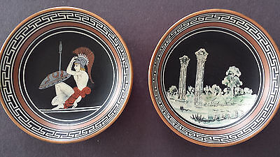"Vtg Pair Greek Copper 3.75"" Wall-Hanging Handpainted, Signed John Douatjis #319"