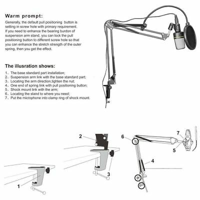 Mikrofone Stand Desk Suspension Arm Adjustable Mic Holder  Filter Broadcast