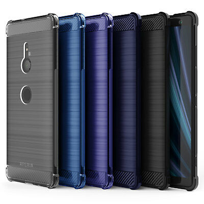 Sony Xperia XZ3 Carbon Fibre TPU Silicone Gel Case Edge Protection Phone Cover