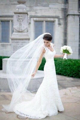 Plain 3 M 1T Long Raw Cut Edge Veil for Beach/Chapel Cathedral Wedding.With Comb