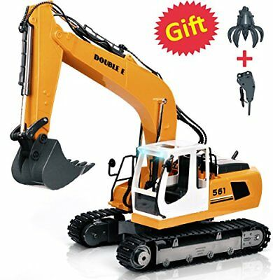 RC Excavator 17 Channel Metal Shovel Construction Vehicles with Drill and Grasp