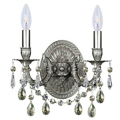 Crystorama 2 Lt Pewter Sconce w/ Silver Shade Hand Cut Crystals - 5522-PW-SS-MWP