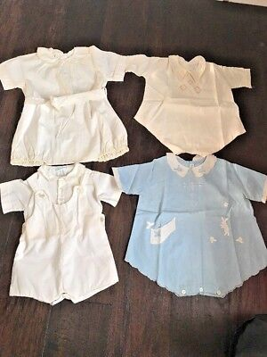 Antique Vintage  BABY One Piece ROMPERS Clothes Embroidered Lot of 4