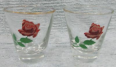 """Pair old red Rose vintage tapered 3"""" tall clear small 4 oz glasses FREE S/H"""