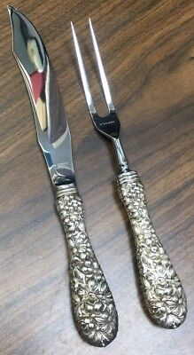 Stieff Rose Sterling Silver 2 Piece Carving Set No Mono F-020