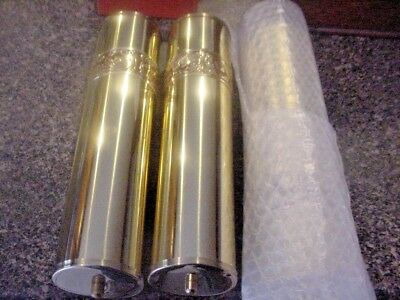 Grandfather Clock Weight Shells Shiny Brass Etched Bands with red 2 1/4 x 9 3/4
