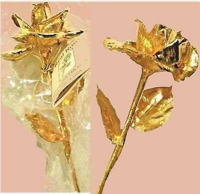 """NWT For YOUR SWEETHEART PAIR of REAL ROSES 24k GOLD DIPPED Long Stem Roses 12"""""""