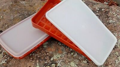 2 vtg TUPPERWARE Paprika Rectangular Storage Containers Meat Marinade w/lids