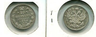 Russia 1913 Bc 20 Kopeks Silver Coin Xf 2889H