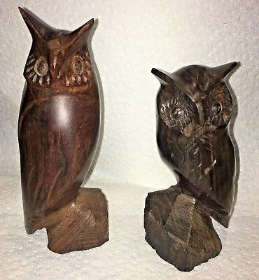 TWO Vintage MCM Mid Century Carved Solid Wooden Ironwood OWL Figurines
