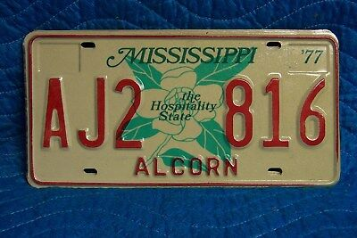AJ2 816 = NOS 1977 Alcorn County Mississippi The Hospitality State License Plate