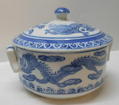 Double Dragon Lidded Bowl Blue and White Porcelain Asian Vintage