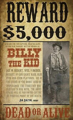 """Billy the kid wanted poster 20""""x12"""", Western outlaw - OLD WEST"""