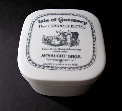 Vintage McNaught Bros Isle of Guernsey Black White Cow Butter Dish Farmhouse