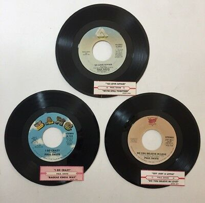 "Paul Davis 3 Lot 45 RPM Vinyl 7"" Record Jukebox Strips Country Blue Eyed Soul"