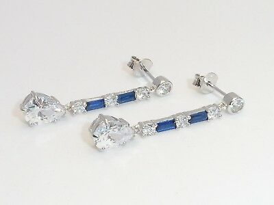 Ladies Art Deco Design 925 Sterling Silver Blue & White Sapphire Drop Earrings