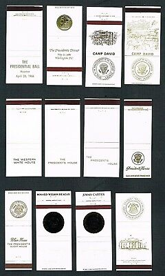 Matchbook Covers Lot of (12) Mixed Presidential Residences and Events (#62)