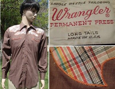 vintage 60s WRANGLER WESTERN SHIRT pearl snap plaid embroidered yoke medium tall