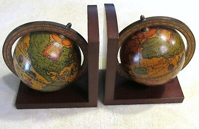 Vintage Pair of Rotating Old Time World Globe Bookends, Made in Italy