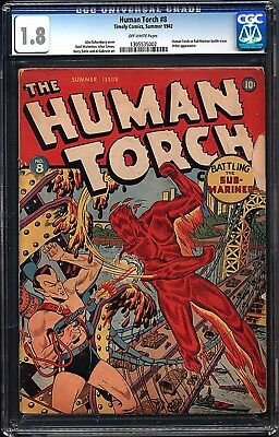 HUMAN TORCH #8 Golden Age Timely Captain America Submariner CGC 1.8