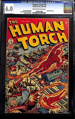 HUMAN TORCH #16 Golden Age Timely Captain America  CGC 6.0 Schomburg WWII cover