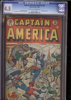 Captain America Comics #50 Timely Golden Age issue CGC 4.5. 10/1945 c/ow