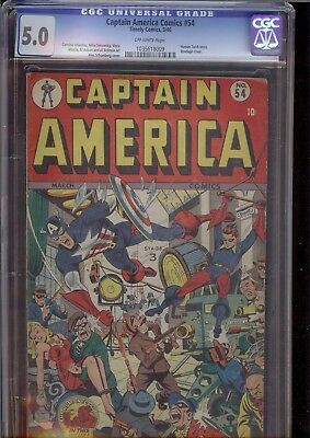 Captain America #54 Timely Golden Age CGC 5.0
