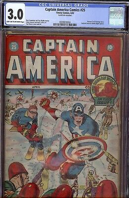 Captain America #25 Timely Golden Age CGC 3. lt  to ow pages Japanese WWII cover