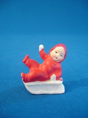 Antique Victorian German Bisque Miniature Christmas Figurine - Snow Baby On Sled
