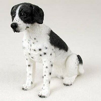 POINTER Dog HAND PAINTED FIGURINE Resin Statue COLLECTIBLE Black White puppy B&W