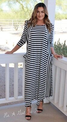 PLUS SIZE BLACK & White Striped 3/4 Loose Fit Maxi Dress Pockets 1X ...