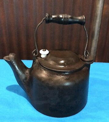 Antique Toy Cast Iron Childs Wagner Ware Hinged Lid Tea Kettle Salesman Sample