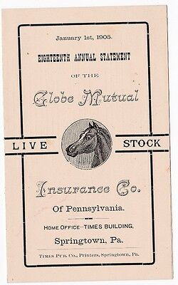 Antique Live Stock Insurance Company Statement and Assessment 1905 Allentown PA