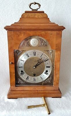 English Mantel Clock Elliott Westminster Whittington Chime Walnut Auto Silent