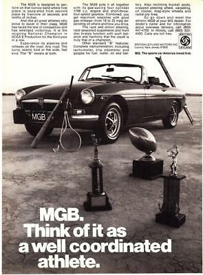 """1974 MG MGB Convertible photo """"Well Coordinated Athlete"""" promo print ad"""