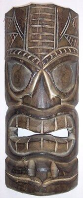 """Hand Carved 11.5"""" Wooden Tiki Head Mask Wall Decor Hanging Totem Bar Patio Luau"""