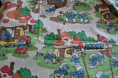 Vintage Smurf Sheets FLAT Double/Full Size Cotton Blend from Lawtex Made in USA
