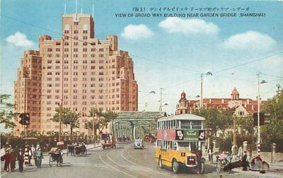 1920s Shanghai China Broadway Near Garden Bridge Bus Postcard