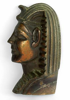 "Vtg Antique 4.3"" Bronze Face Mask Head KING TUT Egypt Tutankhamen Wall Hanging"