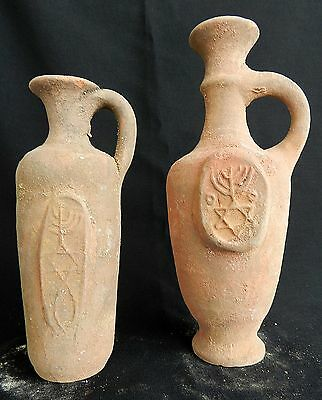 2 pcs. Biblical Antique Jugs Holy Land Jerusalem Clay Pottery Menorah David Star