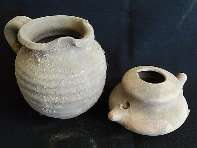 Biblical Ancient Holy Land Roman Clay Pottery Pitcher Jug & Oil Lamp Terracotta